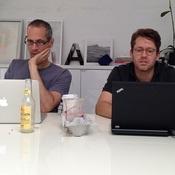 Alex Blumberg and Matt Lieber work on their startup