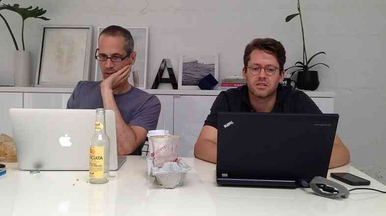 Alex Blumberg and Matt Lieber work on their startup