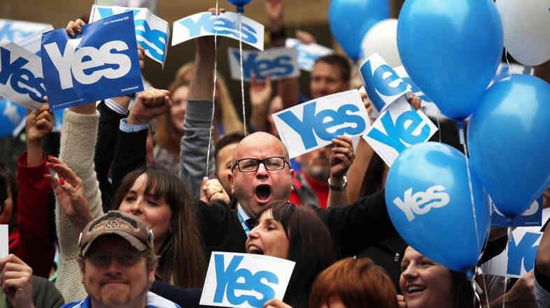 These supporters of Scottish independence are saying 'yes,' and separatist groups in other parts of the world hope it will give them a boost as they seek to break away.