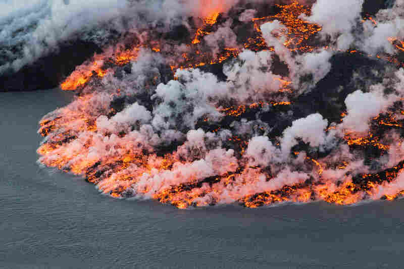 Lava flows out of the Bardarbunga volcano. At 6,500 feet, Bardarbunga is Iceland's second-highest peak and is located under one of Europe's largest glaciers, Vatnajoekull.