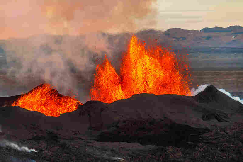 The Holuhraun Fissure, north of the Bardarbunga volcano on Sept. 13. So far, lava has been flowing from fissures, not the volcano itself.