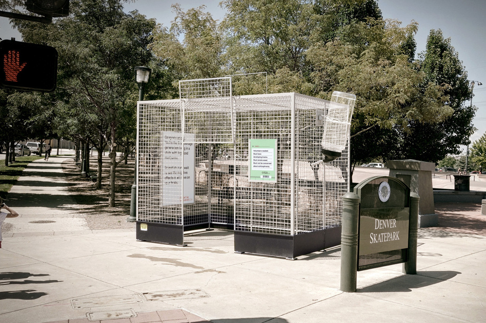 This human-scale lab rat cage is  parked near a skate park in Denver, Colo., to make a point about the lack of science on marijuana. (Richard Feldman Studio/Sukle Advertising and Design)