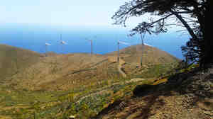 Five industrial wind turbines form part of the Gorona del Viento power plant on the island of El Hierro. By the end of this year, the power plant is set to generate 100 percent of the energy El Hierro needs, making it the world's first energy-independent island powered only by renewables.