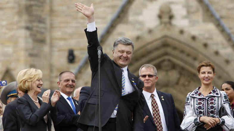 Ukrainian President Petro Poroshenko during a public rally to support Ukraine on Parliament Hill in Ottawa, on Wednesday.