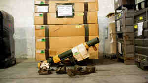Germany is the world's third-largest exporter of arms, like this bazooka destined for northern Iraq, being packed up at a German military base on Thursday. The country's economy minister has held up hundreds of weapons exports since he took office in December, angering many in the defense industry.