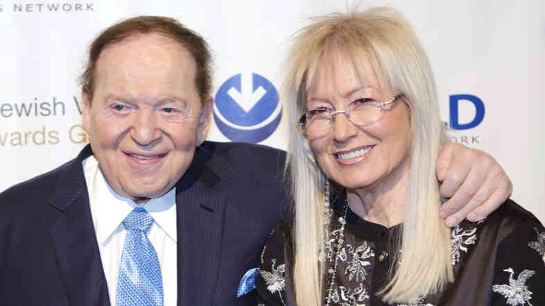 Sheldon Adelson and his wife, Miriam, gave $92.8 million to conservative superPACs and related groups in the 2012 election, according to the Center for Responsive Politics.