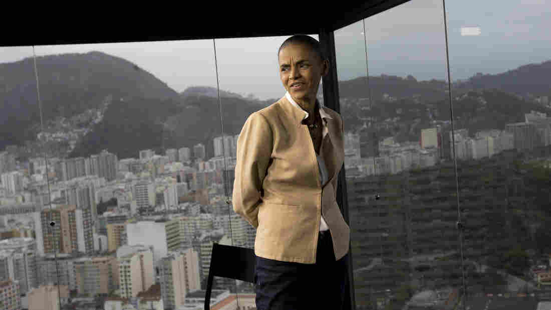 """Marina Silva, shown here in Rio de Janeiro on Wednesday, is tied in polls with incumbent President Dilma Rousseff. Silva, the candidate for Brazil's Socialist Party, says if elected next month, she would be """"the first social environmentalist president."""""""