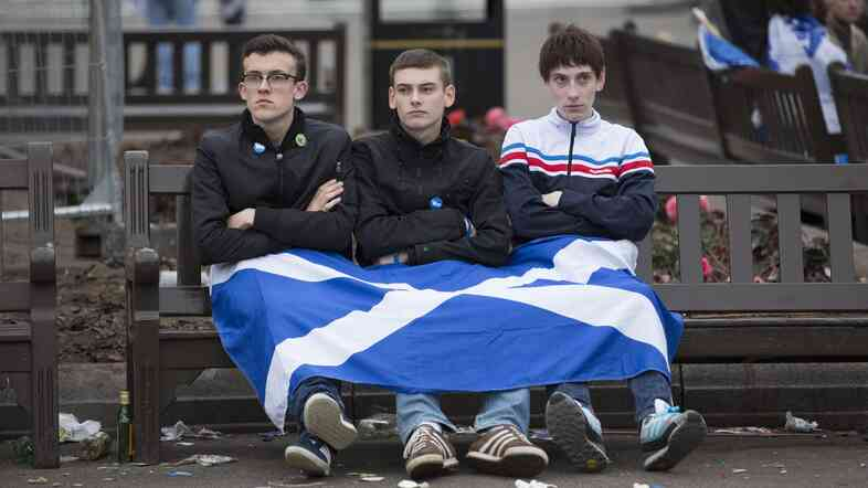 """Dejected """"Yes"""" supporters in George Square, Glasgow, Scotland, on Friday. Scots voted decisively against independence from the U.K."""