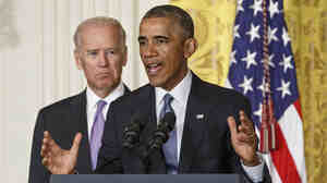 """President Obama outlines the """"It's On Us"""" campaign to help colleges and universities to prevent and respond to sexual assault on campus, as Vice President Joe Biden looks on."""