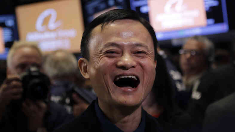 Alibaba founder and CEO Jack Ma has much to laugh about. Shares in the company opened Friday at $92.70 on the New York Stock Exchange. The company is now valued at more than $200 billion — that's bigger that Amazon and Facebook.