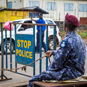 Sierra Leone wants everyone to stay home for three days as part of its anti-Ebola efforts. This roadblock in Freetown is intended to enforce the lockdown.
