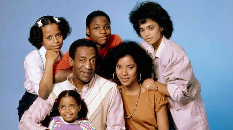 The Cosby Show stars, clockwise from top left: Tempestt Bledsoe, Malcolm-Jamal Warner, Lisa Bonet, Phylicia Rashad, Keshia Knight Pulliam, and Bill Cosby.