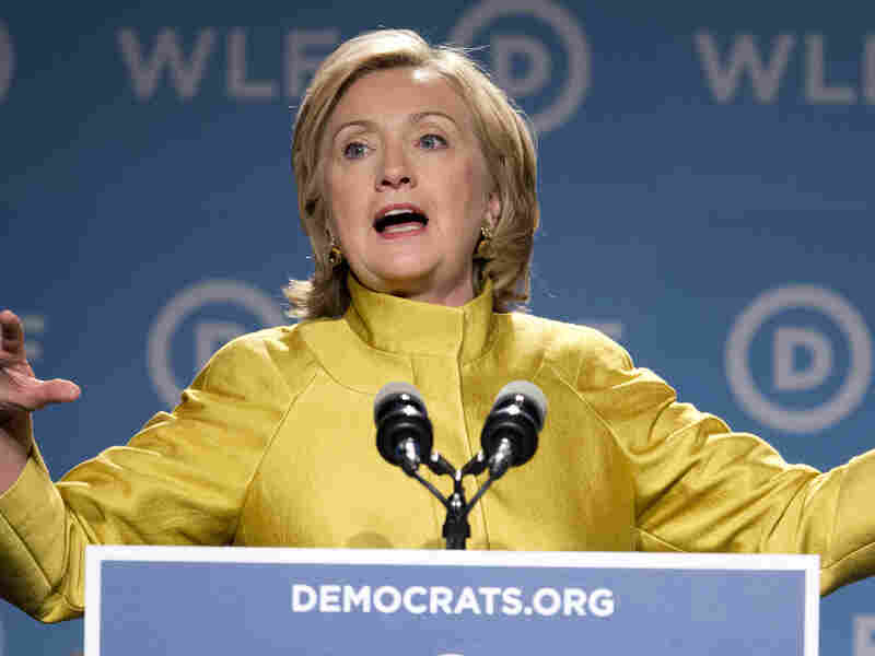Former Secretary of State Hillary Rodham Clinton, speaks at the Democratic National Committee's Women's Leadership Forum in Washington on Friday.