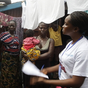 During the three-day lockdown, the government of Sierra Leone is sending teams of workers door-to-door to talk to people about how to protect themselves from Ebola.