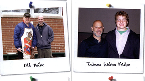 Writer Mike Sager, posing with some of the other Mike Sagers he met, in 2005.