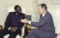 President George Bush meets Angolan rebel leader Jonas Savimbi at the White House in 1989. The CIA began backing Savimbi's movement in the 1980s against Angola's Marxist government. Savimbi was killed in fighting in 2002 and Angola's long-time president remains in power.