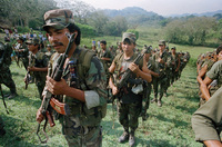 Nicaragua's Contra rebels in 1990. The U.S. backed the Contras in the 1980s, which led to the ouster of the leftist Sandinista leadership. But the U.S. aid violated American law and contributed to the biggest scandal of President Reagan's administration.
