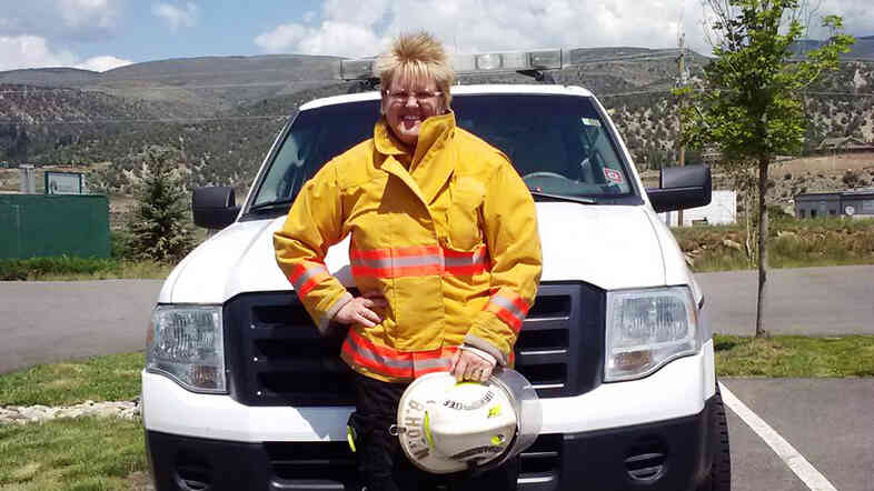 "Brita Horn, fire chief of the Rock Creek Volunteer Fire Department in Colorado, says the department is ""always short-handed."""