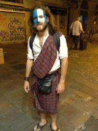 Gabriel Herredero wears a kilt in downtown Barcelona to celebrate Scotland's independence referendum.