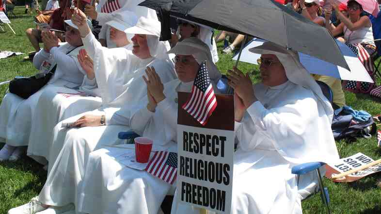 Sisters of the Servants of Mary from Kansas City, Kan., at a rally in 2012. Catholic employers don't want to offer insurance cov