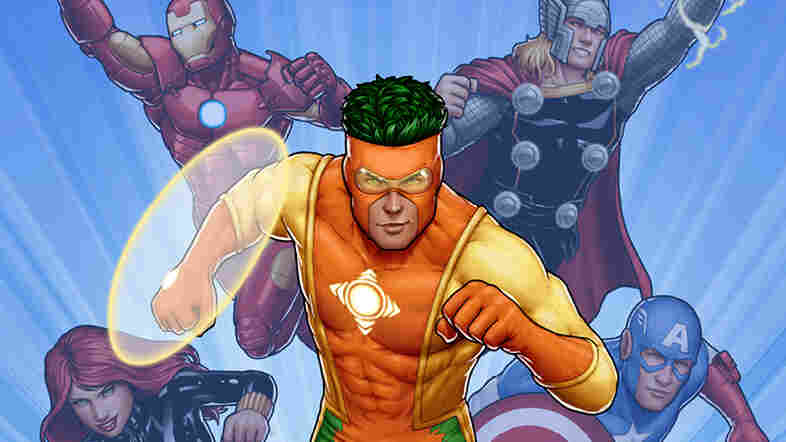 """A new comic features Captain Citrus teaming up with the Avengers to defeat a villain. The new superhero, who uses the power of the sun to generate """"energy items,"""" is sponsored by Florida's citrus industry."""