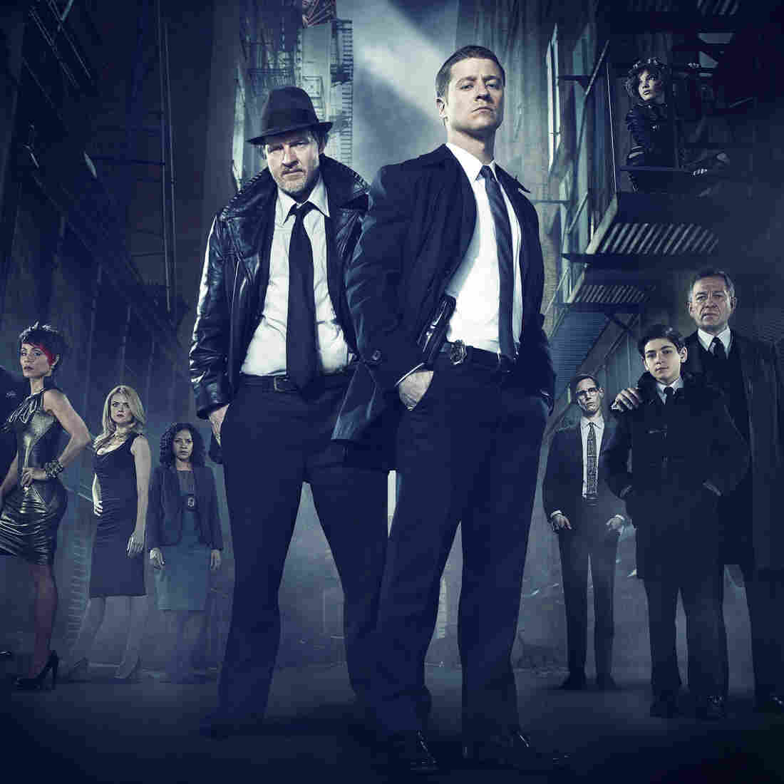 Ben McKenzie (front right) and Donal Logue (left) lead the cast of Fox's Batman prequel Gotham.