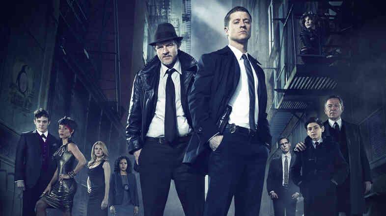Ben McKenzie, front right, and Donal Logue, left, lead the cast of Fox's Batman prequel Gotham.