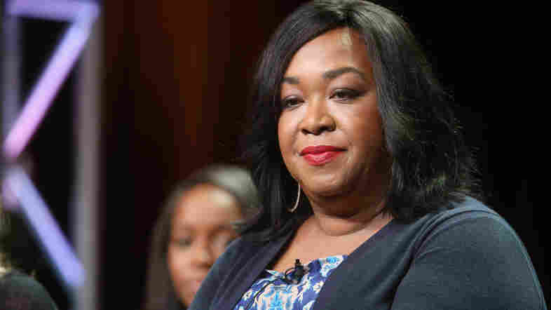 """Shonda Rhimes speaks onstage at the 'How To Get Away With Murder"""" panel during the Television Critics Association press tour in the summer of 2014."""