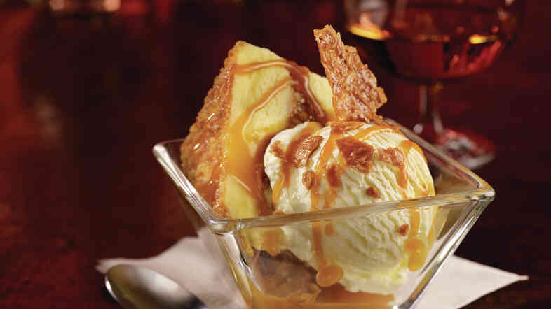Salted caramel has arrived. Here it is at TGI Fridays, on cake, topped with a Ghiradelli salted caramel sauce.