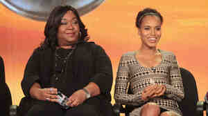 Shonda Rhimes, left, with Scandal star Kerry Washington at a 2012 press conference.