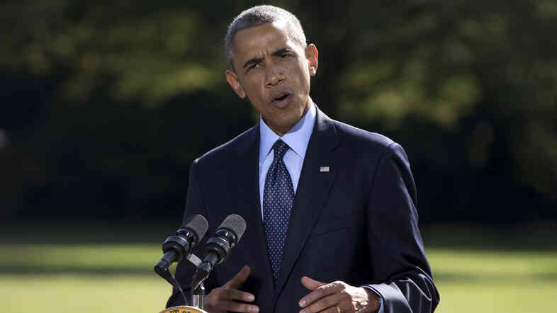 President Obama speaks Tuesday about the participation of five Arab nations in airstrikes against militants in Syria.