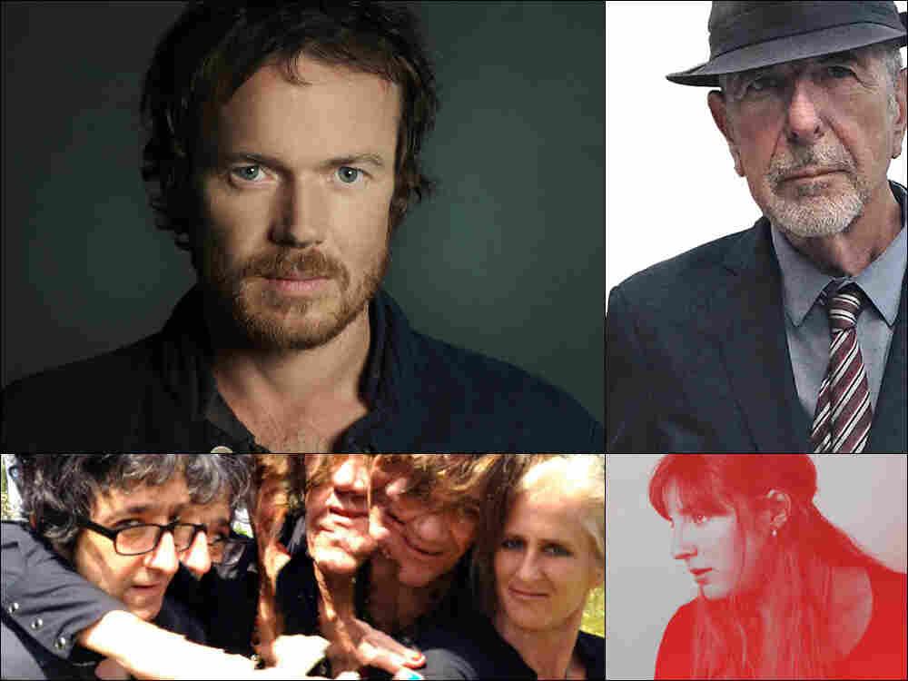 Clockwise from upper left: Damien Rice, Leonard Cohen, Caroline Rose, Medicine
