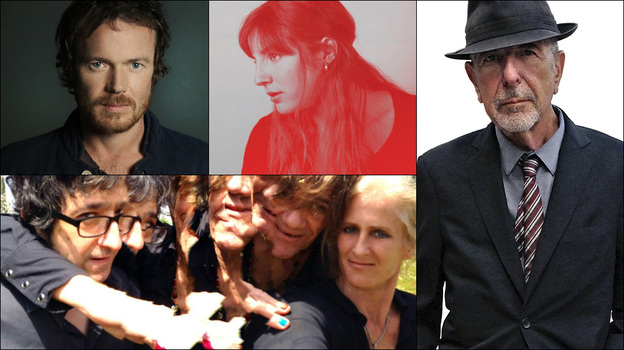 Clockwise from upper left: Damien Rice, Leonard Cohen, Caroline Rose, Medicine