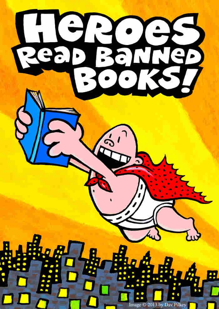 Repeat Offender: Dav Pilkey created artwork for Banned Books Week featuring his frequently complained-about hero, Captain Underpants.