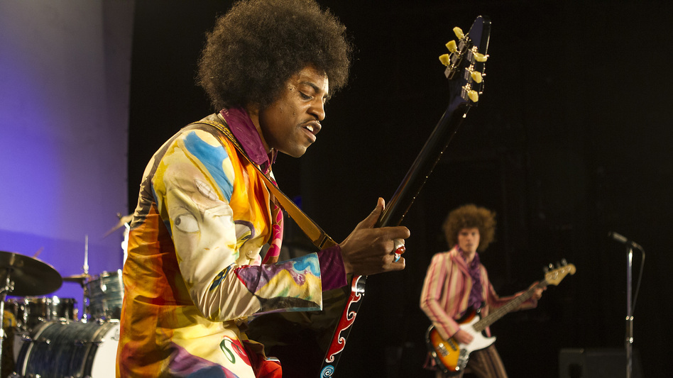 A right-handed guitar player, André Benjamin says he had to learn how to play with his left hand in order to accurately portray Hendrix. (Courtesy of Open Road Films)