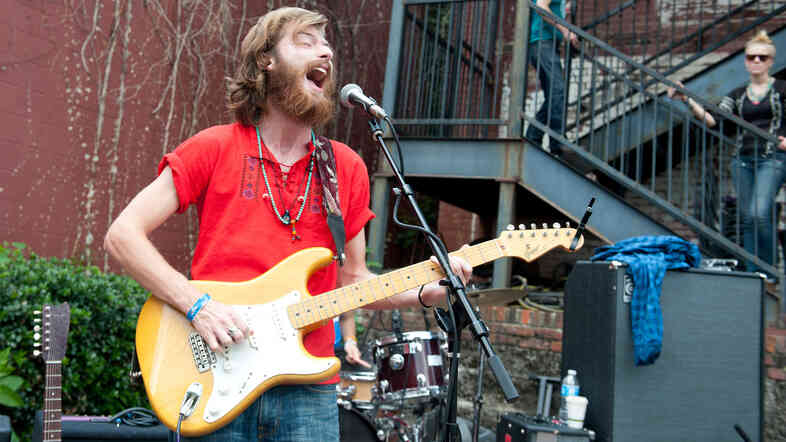 Jonah Tolchin performs at Grimey's in Nashville during the Americana Music Festival on Sept. 20.