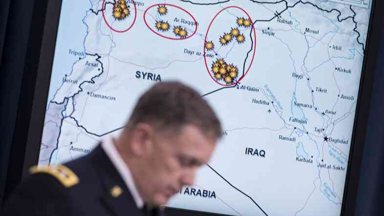 Lt. Gen. William C. Mayville Jr., Joint Staff Director of Operations, speaks about airstrikes in Syria during a briefing at the Pentagon yesterday.