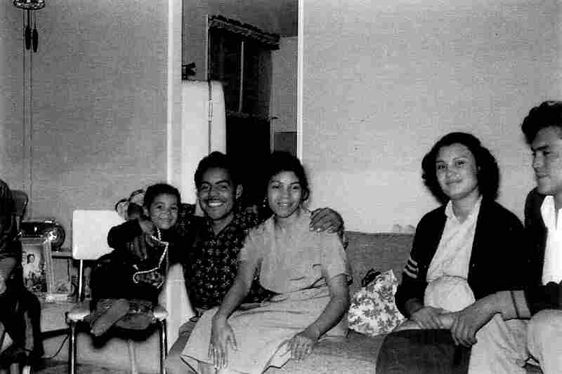 A Christmas gathering with friends in the Rio Linda home of Maria Eugenia Trillo (left), with her parents, Manuel and Maria, in 1953.