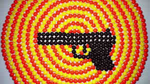 "A still from the video for ""Blood On Your Bootheels,"" by Caroline Rose. Rose made the stop-motion animation with Skittles."