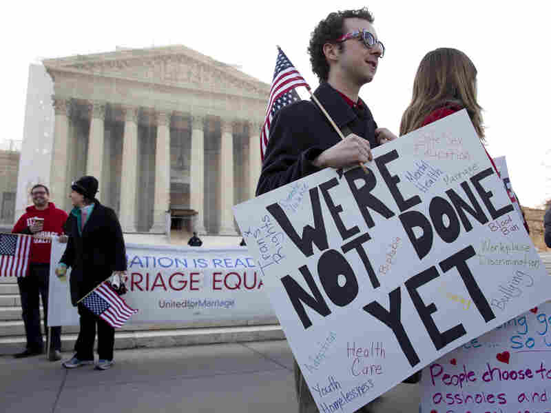The Supreme Court on Wednesday heard arguments over the Defense of Marriage Act, which denies federal benefits to gay couples legally married under the laws of their state.