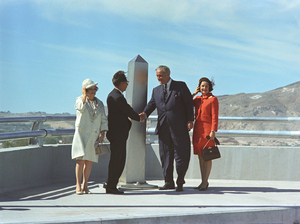 President Johnson and Mexican President Gustavo Di­az Ordaz, with their wives, celebrate the dedication of the Chamizal Monument in Juarez, Mexico, on Oct. 28, 1967. The monument signified the international boundary marker between the two countries, designated in 1964.