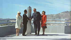 President Johnson and Mexican President Gustavo Diaz Ordaz, with their wives, celebrate the dedication of the Chamizal Monument in Juarez, Mexico, on Oct. 28, 1967. The monument signified the international boundary marker between the two countries, designated in 1964.