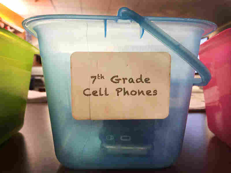 The storage box for seventh-graders' cellphones.