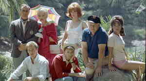 The cast of Gilligan's Island (clockwise from top left): Jim Backus, Natalie Schafer, Tina Louise, Alan Hale Jr., Dawn Wells, Bob Denver, Russell Johnson