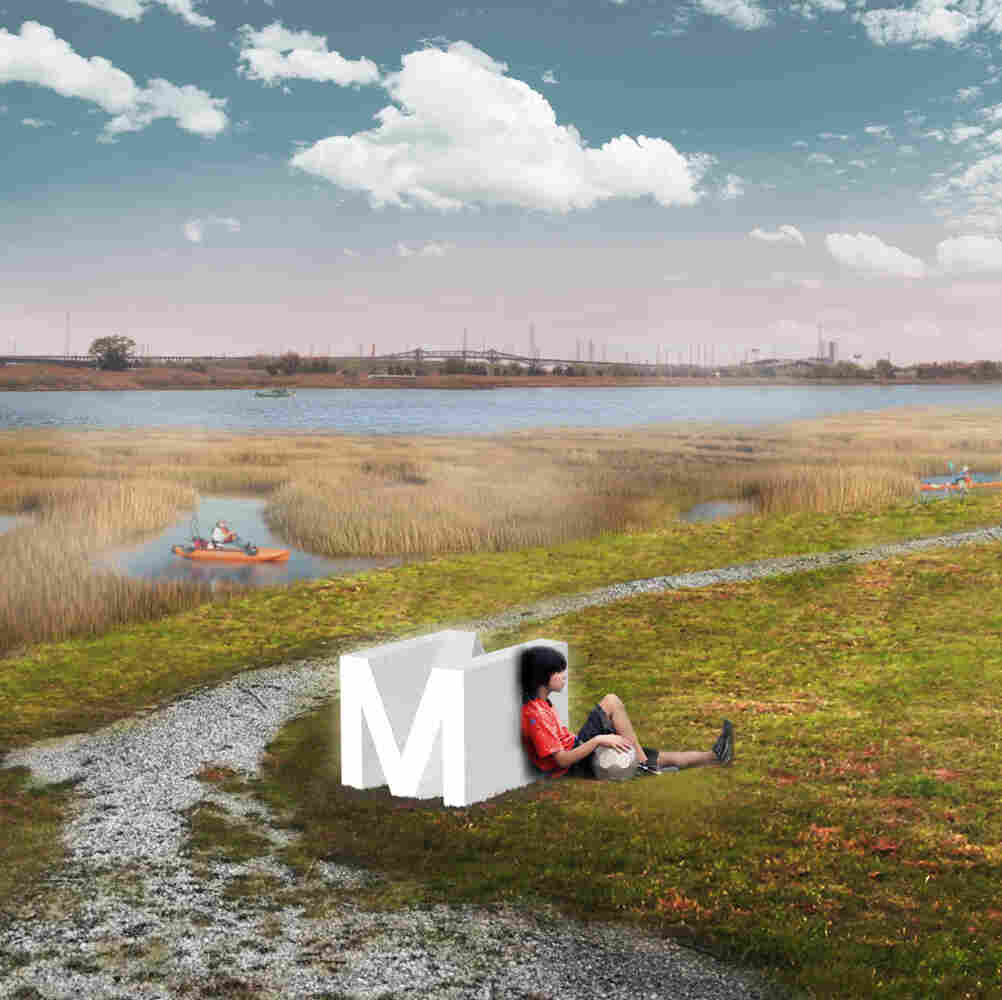 Artists' renderings of New Meadowland show how the wetland would be designed for human recreational use as well as flood control. The berm shown would be a path through the park when water was low (left). When storms came in, the wetlands would flood, and the berm would protect local development.