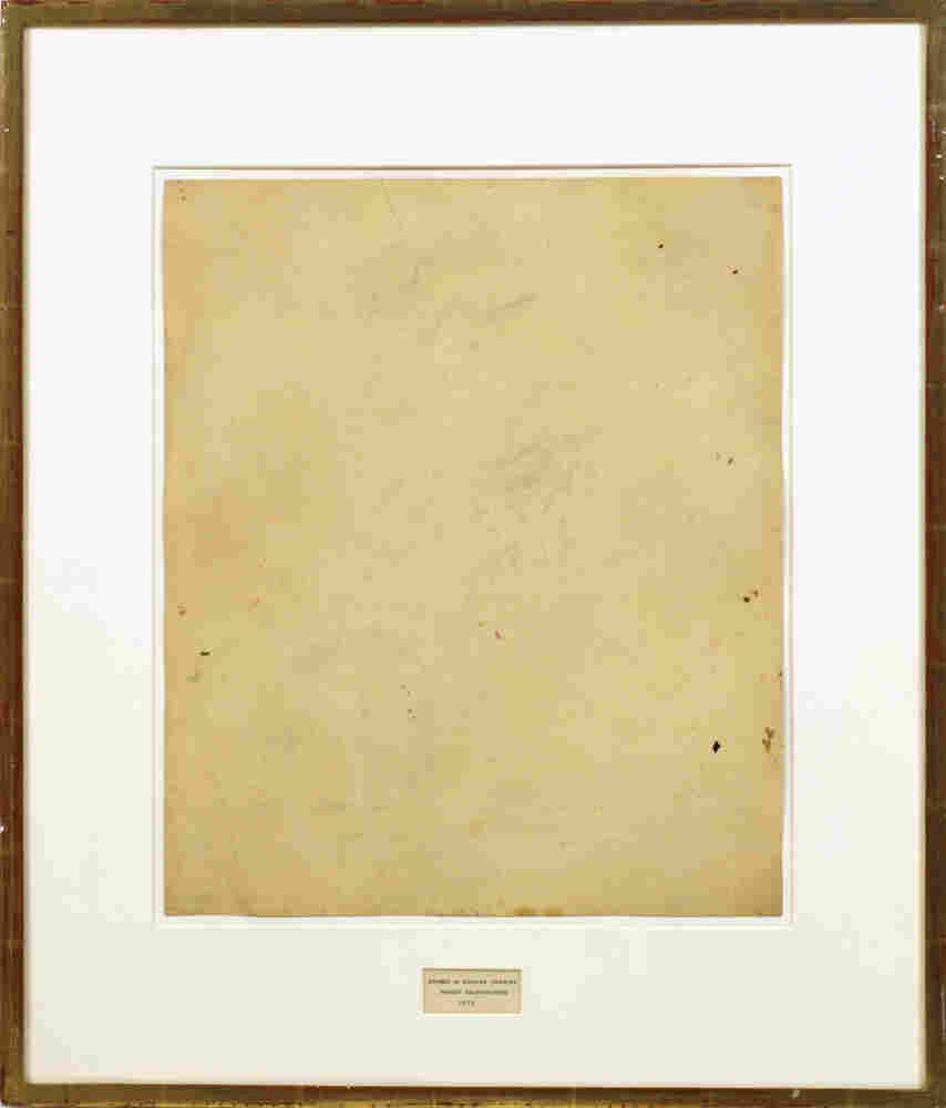 Robert Rauschenberg, Erased de Kooning Drawing, 1953; traces of ink and crayon.
