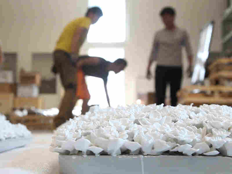 Portions of Ai Weiwei's piece Blossom await transport from his Beijing Studio to Alcatraz Island in San Francisco.