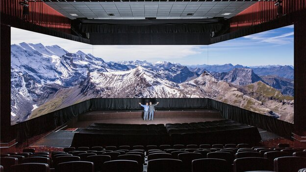 This panoramic theater from Barco, Inc. is another way technology companies hope to enhance the experience for moviegoers.