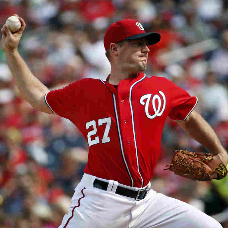 Washington Nationals starting pitcher Jordan Zimmermann throws during the third inning of a baseball game against the Miami Marlins at Nationals Park on Sunday.