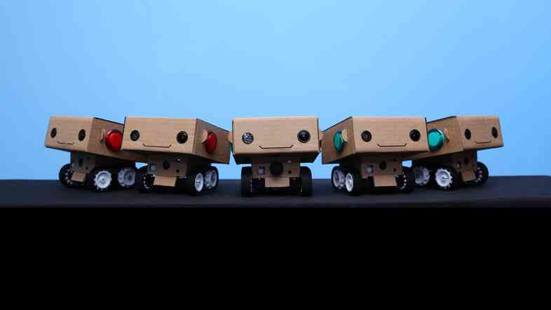 These little robots, called BlabDroids, ask people questions and video record their replies. The footage will be used to create a documentary.